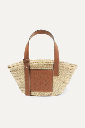 Loewe Small Leather-trimmed Woven Raffia Tote - Tan