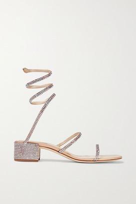 Rene Caovilla Cleo Crystal-embellished Satin Sandals - Beige