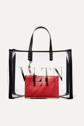 Valentino Garavani Grande Plage Small Leather-trimmed Printed Pvc Tote - Clear