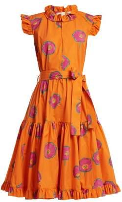 La Doublej - Short & Sassy Floral Print Cotton Dress - Womens - Orange Multi