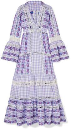Dodo Bar Or - Gingham Cotton-jacquard Maxi Dress - Lavender
