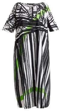 Marina Rinaldi Marina Rinaldi, Plus Size Marina Rinaldi, Plus Size Women's Abstract Print Cotton Dress - White - Size 16W