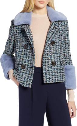 Halogen x Atlantic-Pacific Tweed Jacket with Removable Faux Fur Trim
