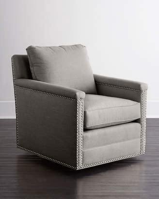 Avis St. Clair Light Gray Tweed Swivel Chair