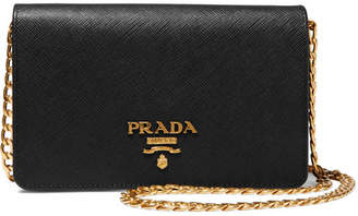 Prada Wallet On A Chain Textured-leather Shoulder Bag - Black