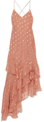 Michelle Mason - Asymmetric Polka-dot Silk-blend Jacquard Dress - Antique rose
