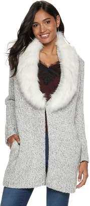 JLO by Jennifer Lopez Women's Faux-Fur Cardigan
