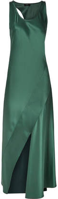 Theory Cutout Satin Maxi Dress - Emerald