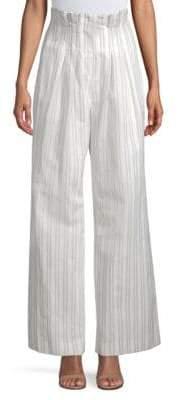 Rebecca Taylor Women's Striped Wide-Leg Pants - Snow Black - Size 2