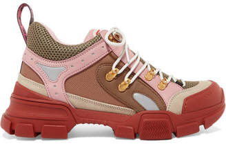 Gucci Flashtrek Logo-embossed Leather, Suede And Mesh Sneakers - Baby pink