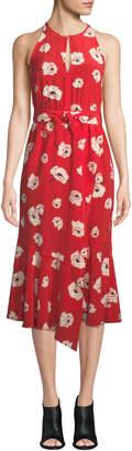 Derek Lam 10 Crosby Floral-Print Belted Halter Dress with Asymmetric Hem