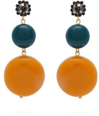 Marni Circle And Flower Drop Earrings - Womens - Orange