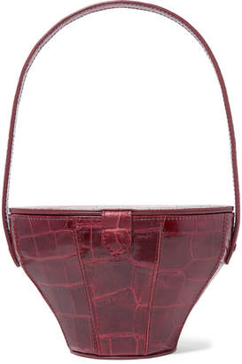 STAUD - Alice Croc-effect Leather Tote - Burgundy