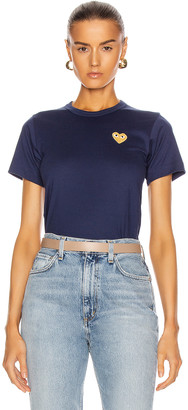 Comme des Garcons Gold Heart Emblem Tee in Navy | FWRD