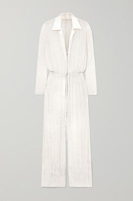 Naeem Khan Nevada Beaded Silk-chiffon Jumpsuit - White