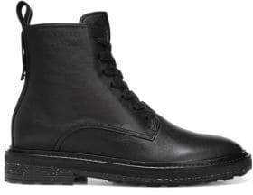 Via Spiga Women's Kinley Leather Combat Boots - Black - Size 8.5