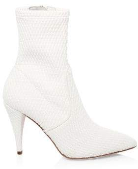 Alice + Olivia Women's Hedde Woven Ankle Boots - White - Size 6