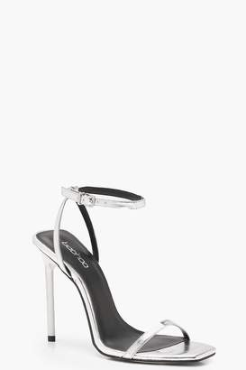 boohoo Metallic Square Toe Heels