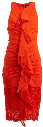 Proenza Schouler Ruffle Lace Cotton Blend Midi Dress - Womens - Coral