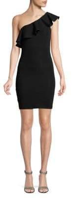 BCBGeneration One-Shoulder Ruffle Jacquard Dress