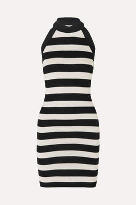 Balmain Striped Stretch-knit Halterneck Mini Dress - Black