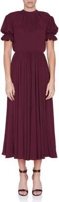 Emilia Wickstead Burgundy Wool Crepe Philly Dress