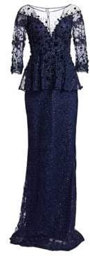 Teri Jon by Rickie Freeman by Rickie Freeman Women's Embellished Lace Gown - Navy - Size 14