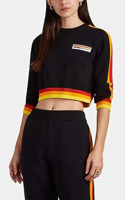 Opening Ceremony Women's Striped Cotton-Blend Crop Sweater - Black