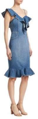 Jonathan Simkhai Women's Denim Ruffle Dress - Vintage Indigo - Size 2