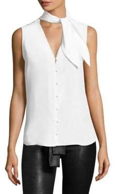 Frame Women's Silk Tie Neck Blouse - White - Size Large