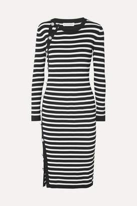 Altuzarra Arzel Button-detailed Striped Ribbed-knit Midi Dress - Black