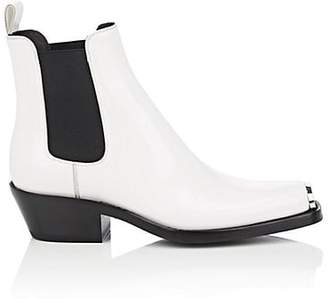 Calvin Klein Women's Western Claire Spazzolato Leather Chelsea Boots - White