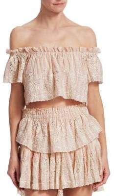 LoveShackFancy Women's StephanieOff-The-Shoulder Crop Top - Tan Pink - Size XS