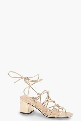 boohoo Metallic Cage Wrap Strap Low Block Heels