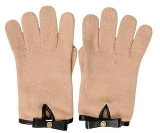 Tory Burch Leather-Trimmed Wool Gloves