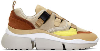 Chloé Tan and Beige Sonnie Sneakers