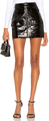 1 STATE Crackle Patent Leather Skirt