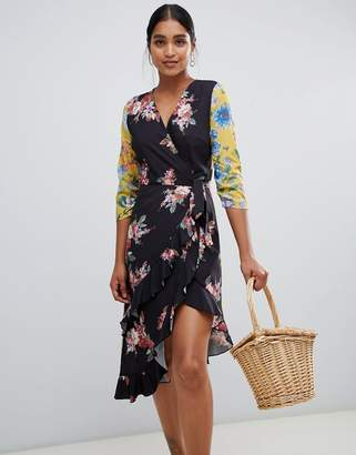 Liquorish patchwork floral print asymmetric wrap midi dress