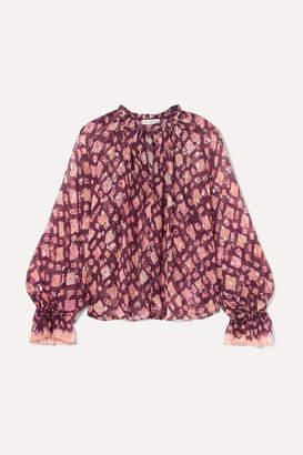 Ulla Johnson Naliah Printed Metallic Fil Coupé Silk-blend Chiffon Blouse - Plum