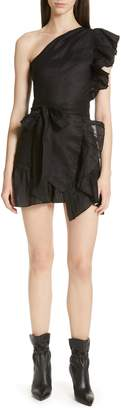 Etoile Isabel Marant Teller Ruffle One-Shoulder Dress