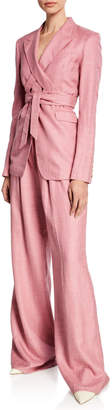 Gabriela Hearst Vargas Wide-Leg Suiting Pants, Blush