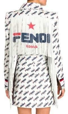 Fendi Women's Fringed Mania Fila Logo Leather Jacket - White Logo - Size 38 (4)