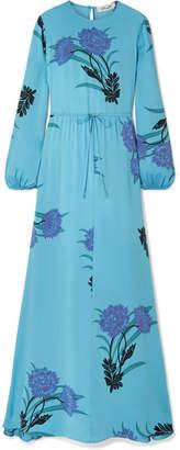 Diane von Furstenberg Floral-print Silk-blend Maxi Dress - Light blue