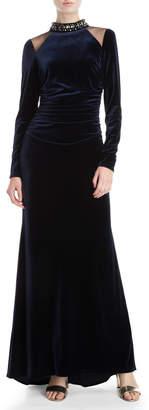 Vince Camuto Velvet Embellished Neck Gown