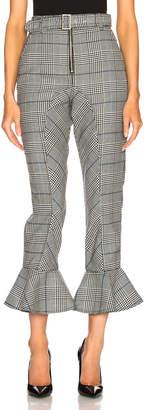 Self-Portrait Self Portrait Frilled Check Trousers in Black & White | FWRD