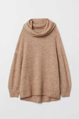 H&M Oversized Cowl-neck Sweater - Beige
