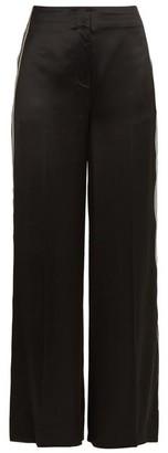Diane von Furstenberg Ribbon Wide Leg Satin Trousers - Womens - Black