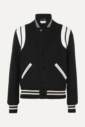 Saint Laurent Teddy Leather-trimmed Wool-blend Bomber Jacket - Black