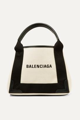 Balenciaga Leather-trimmed Logo-print Canvas Tote - White