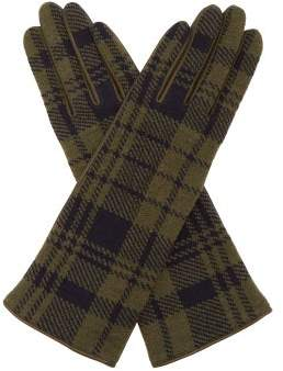 Sonia Rykiel Tartan Wool And Leather Gloves - Womens - Green